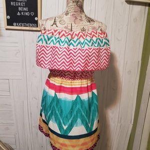 Glam Off Shoulder dress  Multicolor multi print SM